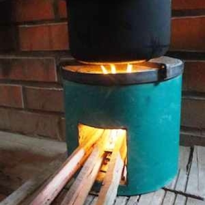 Metal Case Stove with Fire